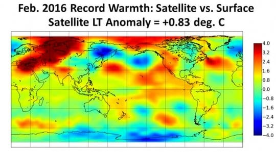 Satellite temperature data showing February 2016's new record. Credit: Dr. Roy Spencer, University of Alabama, Huntsville
